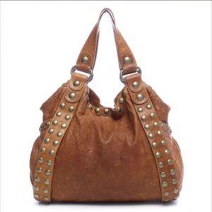Kooba Handbags - KOOBA studded brown leather designer Hobo bag