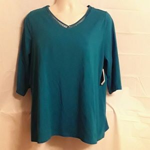 Catherines  Tops - Catherines New Women's Plus  0X  14/16  Teal Green