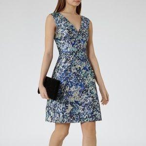 NWOT REISS Burgundy Allium Printed Dress Ice- Blue