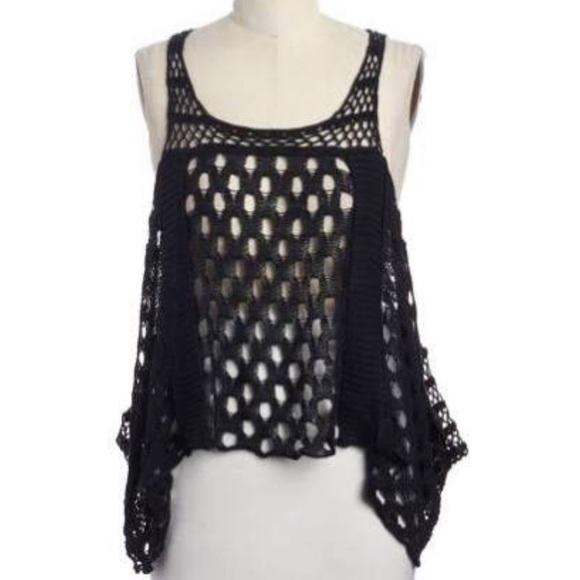 c3a69ef078760 AllSaints Black Crochet Elkin Tank Top