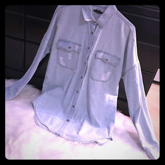 71 off forever 21 tops light denim snap button down for Mens shirts with snaps instead of buttons