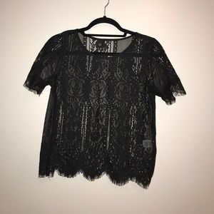 Tops - Black lace t shirt