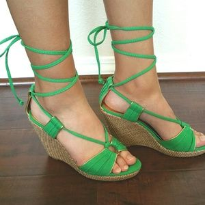 Green lace up sandals
