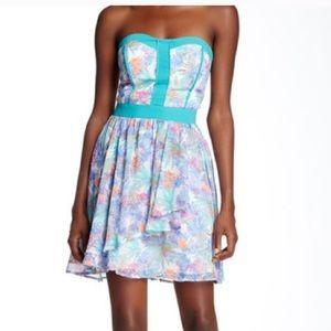 NWT strapless cascading dress