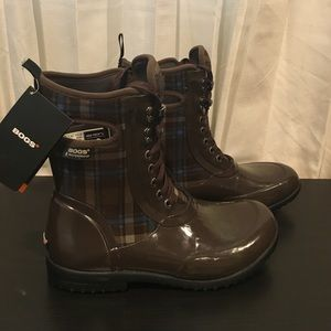 Bogs Shoes - BOGS Lace Up Boots Brown Sidney Plaid