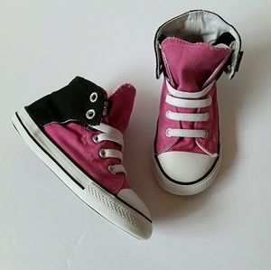 Converse Other - Girl's Converse Velcro Hightops pink black size 10