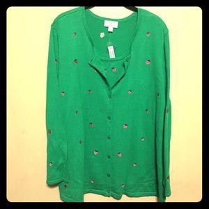 Quacker Factory Sweaters - Quacker Factory 2X green cardigan sweater
