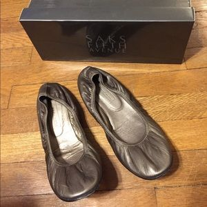 Saks Fifth Avenue Shoes - Saks Fifth Avenue Pewter Ballet Flats
