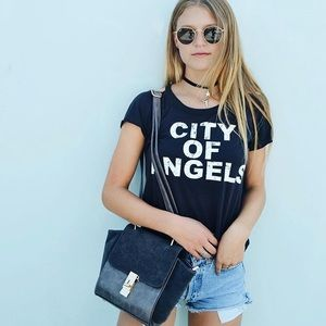 Chaser Tops - Chaser City of Angels Cold Shoulder graphic Tee