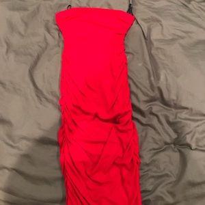 Red ribbed midi dress