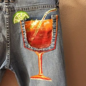 Kut from the Kloth Denim - Tequila sunrise 🌅 hand painted jeans