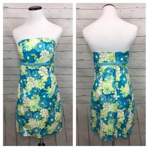 Lilly Pulitzer vintage blue floral strapless dress