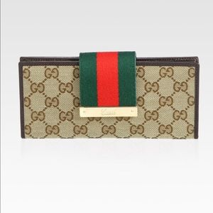 Authentic Gucci Web GG Canvas Continental Wallet