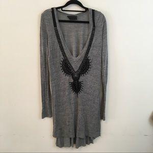 A.L.C. Tops - A.L.C. Grey Black Beaded Tunic Blouse