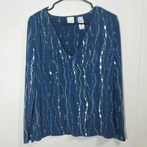 Emma James Tops - Emma James Blue Chain Print Long Sleeve Blouse
