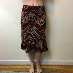 Diane von Furstenberg Dresses & Skirts - DVF Burgundy Tan Zig Zag Wool Fluted Skirt