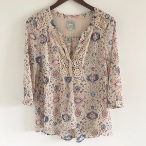 Anthropologie Tops - Anthropologie Maeve 3/4 Sleeve Printed Blouse