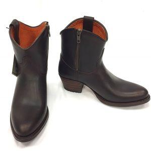 FRYE Brown Leather Deborah Short Boots