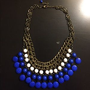 Blue and white beaded statement necklace