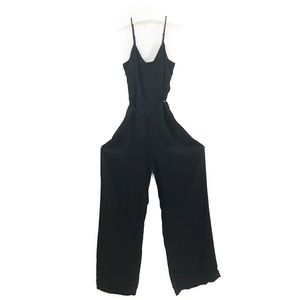 Shiny wide leg black jumpsuit