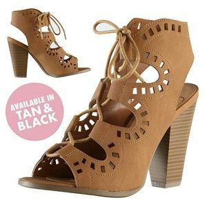 Shoes - ✨LOWEST PRICE✨ TAN Laser Cut Lace-Up Heels NIB