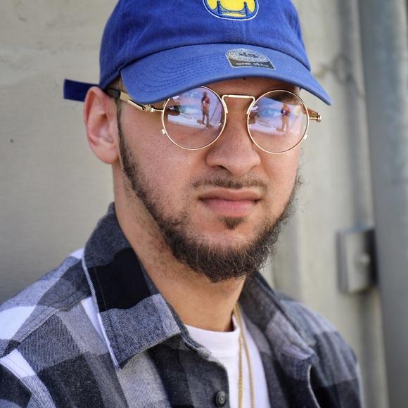 02061b9338 Mens Hip Hop Round Gold Frame Clear Eye Glasses