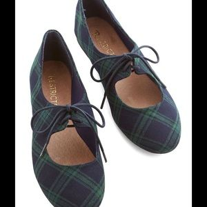 Restricted Shoes - ModCloth restricted Flats Green Plaid Tartan