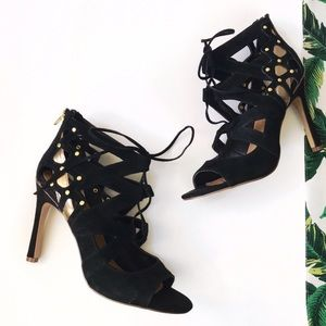 Dolce Vita Shoes - ➡Dolce Vita Black & Gold Suede Lace Up Heels⬅