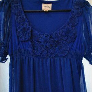 ECI Dresses & Skirts - ECO blue dress w/floral detail & color block hem