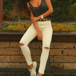 b6071e9f Zara Jeans - Zara High Waist Skinny Jeans Ripped Knee White