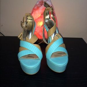 Bakers Shoes - Turquoise and tan strappy platform heels
