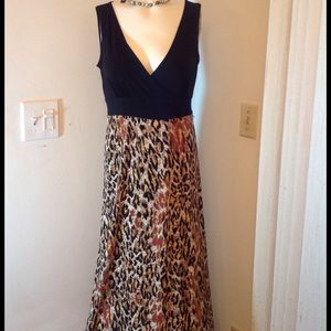 NY Collection Dresses & Skirts - MAXI DRESS BLACK ON TOP WITH LEOPARD PRINT