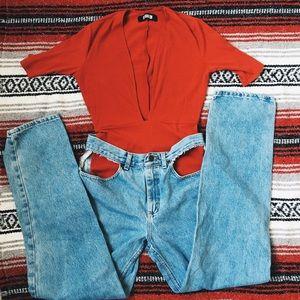 Lee Denim - Vintage reclaimed cut out jeans size 6