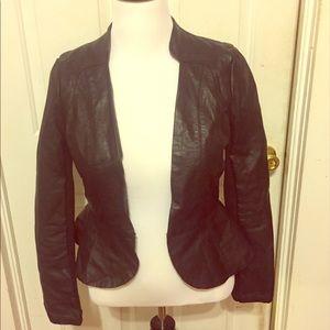 Open Black Leather Peplum Jacket
