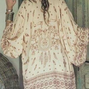 Spell & The Gypsy Collective Tops - Boho Skull Tribe Kimono, Cow Feather Chevron Print