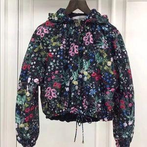 Valentino Jackets & Blazers - Valentino Floral-Print Silk Hooded short Jacket