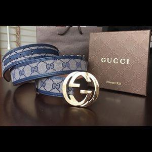 Gucci Other - 🌶 Authentic Men Gucci Belt Blue Trim Gold Buckle