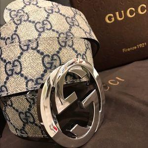 Gucci Other - ✨ Authentic Men Gucci Belt Blue Monogram