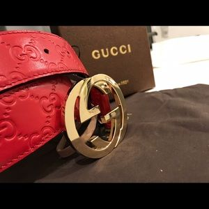 Gucci Other - ✨ Authentic Men Gucci Belt Red Guccisima Gold GG