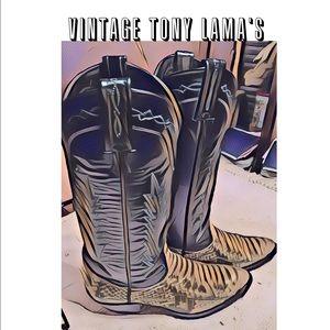 Tony Lama Shoes - 🆕List/VINTAGE TONY LAMA/White SnakeSkin/Boots/7M