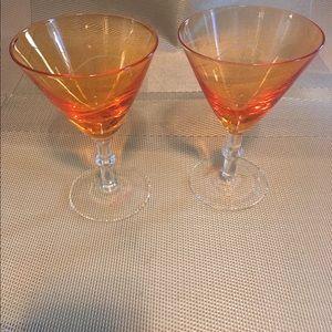 17 Sundays Other - Two Gorgeous orange etched glass Martini glasses