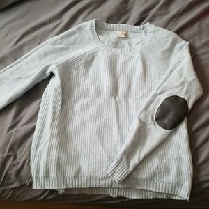 J crew light blue ribbed sweater w elbow patches