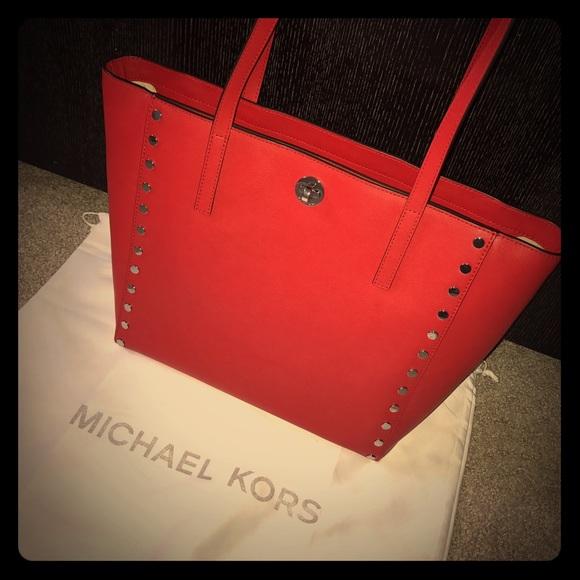 60cd0dbd4403 NWT Michael Kors Rivington Stud in Bright Red