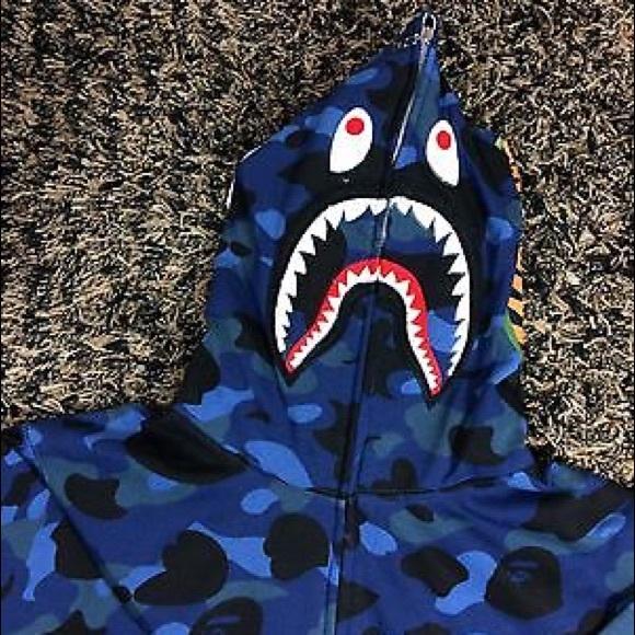 8185042b7cf5 BAPE A BATHING APE WGM BLUE CAMO SHARK HOODIE