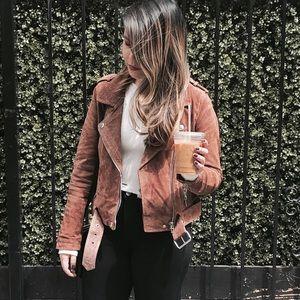 Blank NYC Jackets & Blazers - BLANKNYC Morning Moto Suede Jacket in Coffee Bean
