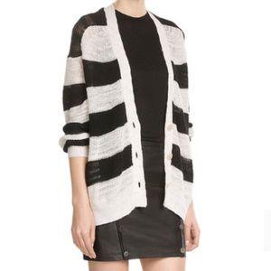 IRO Sweaters - IRO Striped Linen Blend Cardigan Sweater