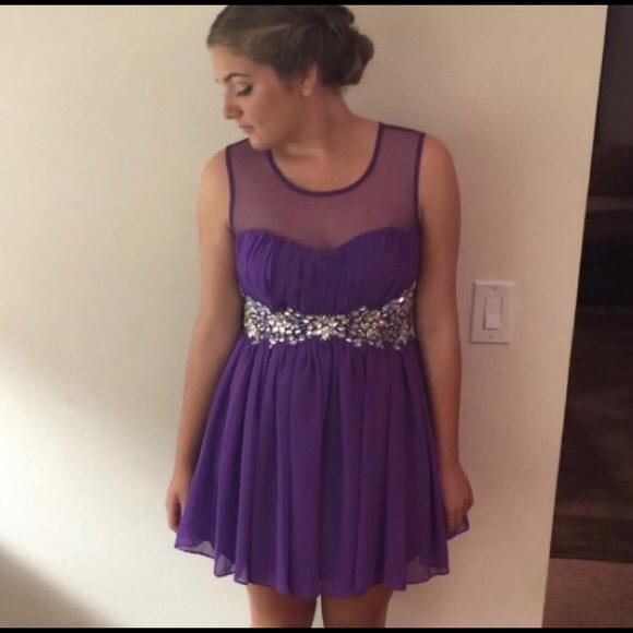 Macys Dresses Cute Short Prom Formal Homecoming Dress Purple
