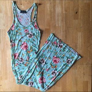 Mint green floral midi/maxi dress