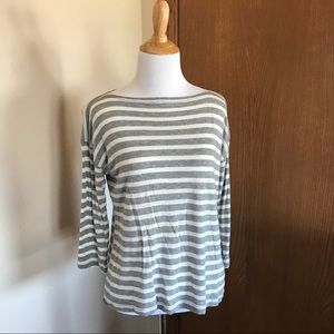 J. Crew Grey and White Striped Top