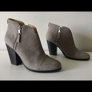 RAG & BONE MARGOT GRAY SUEDE LEATHER ANKLE BOOTIES